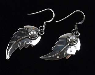 Mint Sterling Silver Pearl Feather Drop Earrings