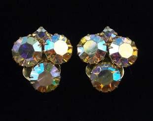 Stunning 1950s Aurora Borealis Rhinestone Earrings