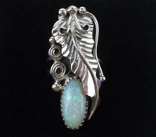 Navajo Rob Martinez Sterling Silver Opal Ring 8