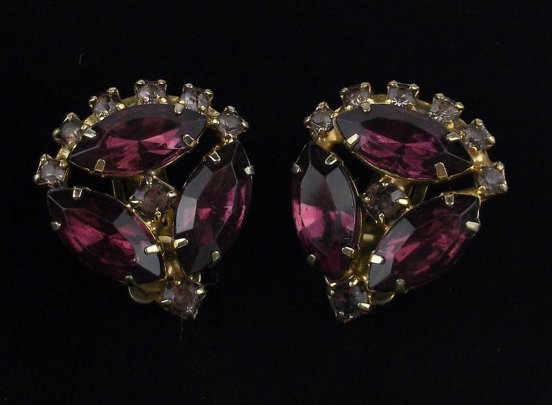 Stunning 1950s Rhinestone Earrings Amethyst Color