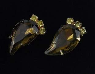 Stunning 1950s Big Rhinestone Earrings Vintage