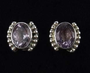 Mint Navajo Sterling 6cttw Amethyst Earrings Stud
