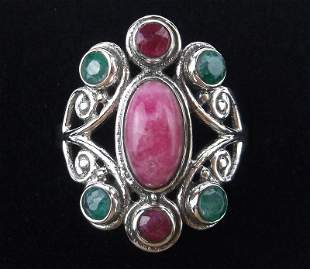 New Boxed Bali Sterling Ruby Emerald Ring Size 7.5