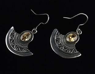 Stunning Bali Sterling Silver Citrine Drop Earrings