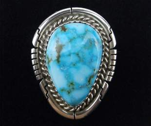Navajo Dave Skeets Sterling Sky Blue Turquoise Ring 6