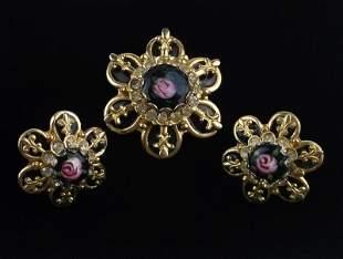 Stunning 1950s Enameled Rhinestone Brooch Earrings Set