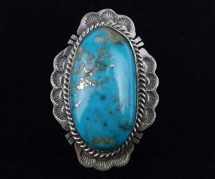 Big Jimmy Nelson Sterling Silver Turquoise Ring 8.5