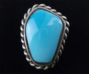 Navajo Jimson Belin Sterling Sky Blue Turquoise Ring 7