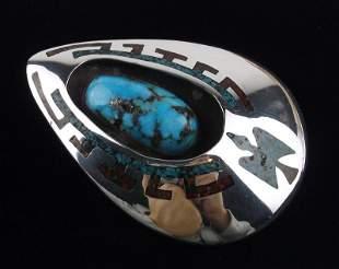 GIANT 1976 Navajo Little Turtle Sterling Turq Pendant