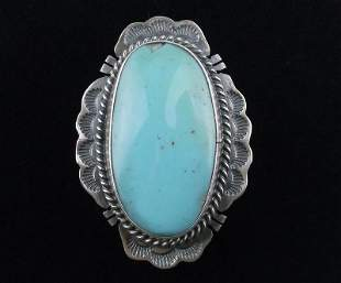 Navajo Jimmy Nelson Sterling Silver Turquoise Ring 10