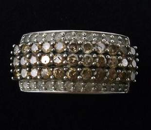 New Boxed 10kt Gold Chocolate White Diamond Ring 7