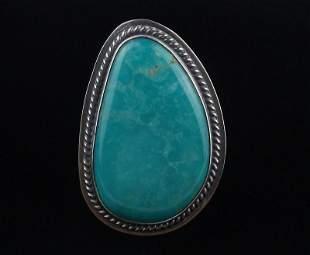 BIG Navajo Greg Perry Sterling Sky Blue Turq Ring 9