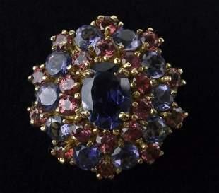 New Boxed 10kt Gold Tanzanite Garnet Ring Size 6