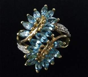 New Boxed 10kt Gold Diamond Topaz Ring Size 6