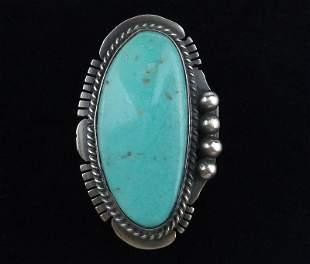 Big Navajo Jimmy Nelson Sterling Silver Turq Ring 7.5