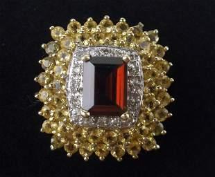 New Boxed 10kt Gold Garnet Diamond Citrine Ring 6