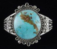 Big Navajo Betta Lee Sterling Turquoise Cuff Bracelet