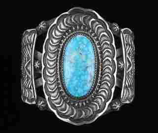 Navajo Leander Tahe Sterling Turquoise Cuff Bracelet