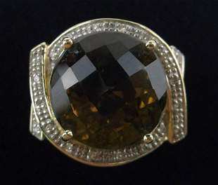 New Boxed Heavy 10kt Gold Citrine Diamond Ring 7