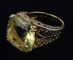 New Boxed 10kt Gold 15ct Citrine Ring 7.25
