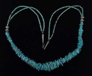 "Huge Vint Navajo Sterling Silver Turquoise Necklace 36"""