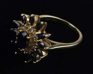New Boxed Thick 10kt Gold Sapphire Topaz Ring 7
