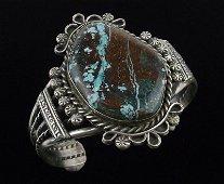 Huge Navajo Betta Lee Sterling Turquoise Cuff Bracelet