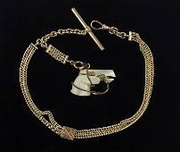 1910s Art Nouveau 12kt GF Horse Pocket Watch Chain MOP