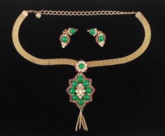 Mint Vintage 1950s Juliana Rhinestone Necklace Earrings