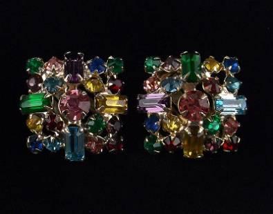 Mint Vintage 1960s Juliana Rhinestone Earrings Clip