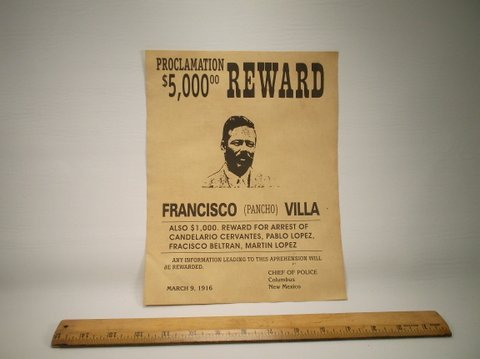 Old West Outlaw Pancho Villa Wanted Poster