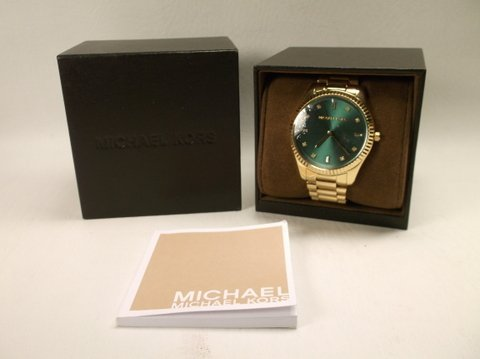 New Mens Gold Michael Kors Wristwatch In Box $450
