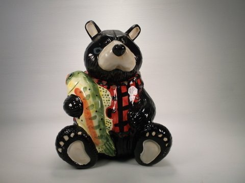 Nice 12 Inch Fishing Bear Cookie Jar