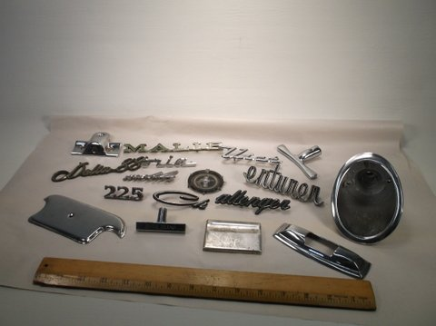 Lot of Old Car Auto Parts Badges Etc