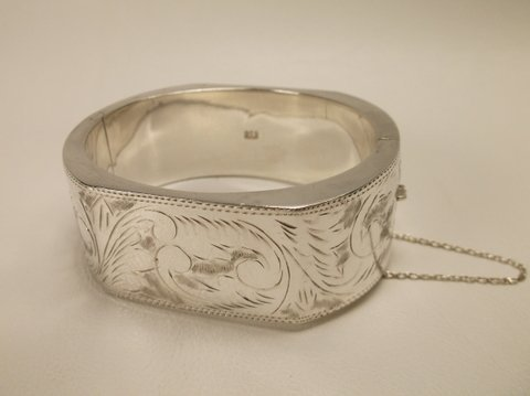 Stunning HUGE Sterling Silver Thick Ornate Bracelet
