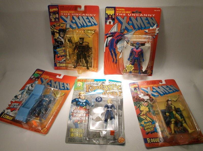 5 1990s Action Figures Lot X-Men Wolverine More MOC