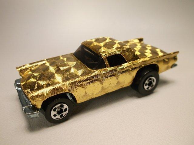 Nice Vintage Hot Wheels Gold Swirl T-Bird Car - 2