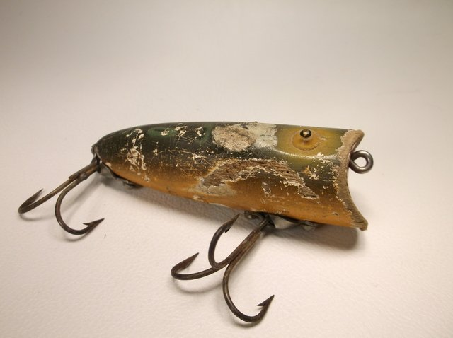 Antique Wood Heddon Baby Lucky Fishing Lure