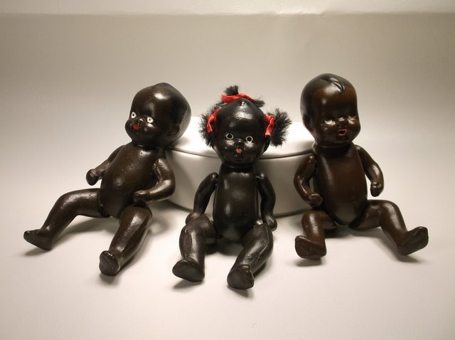 3 Nice Antique Black Americana Porcelain Baby Dolls