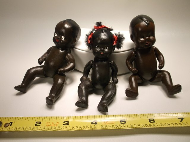 3 Nice Antique Black Americana Porcelain Baby Dolls - 2