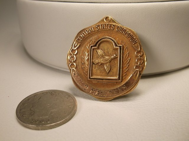 Rare Antique 1955 12kt GF Duck Shooting Medal