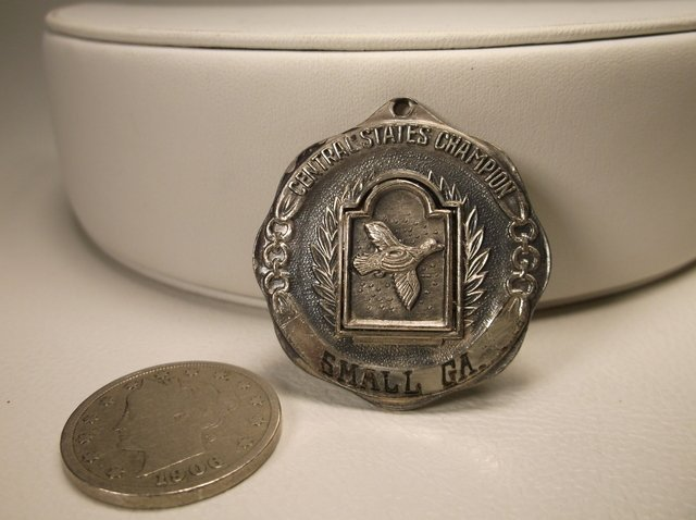 Rare Antique 1957 Sterling Duck Shooting Medal