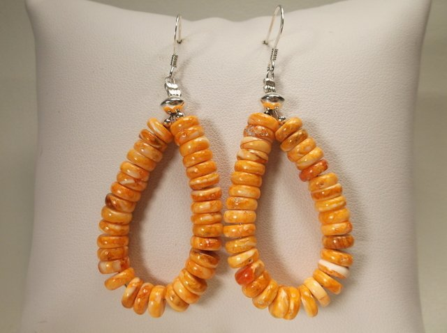 Beaut Sterling Silver Navajo Orange Spiny Earrings RB