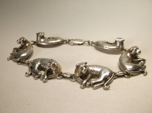 Stunning Heavy Sterling Silver Tiger Bracelet