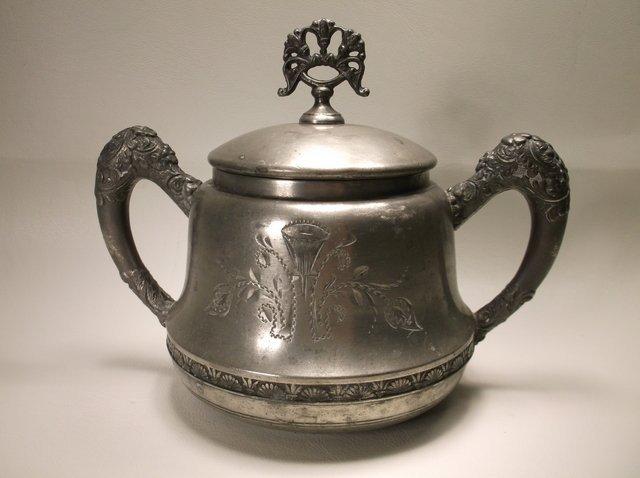 Ornate 1800s Leonard Silver-plate Sugar Bowl