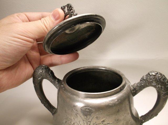 Ornate 1800s Leonard Silver-plate Sugar Bowl - 3