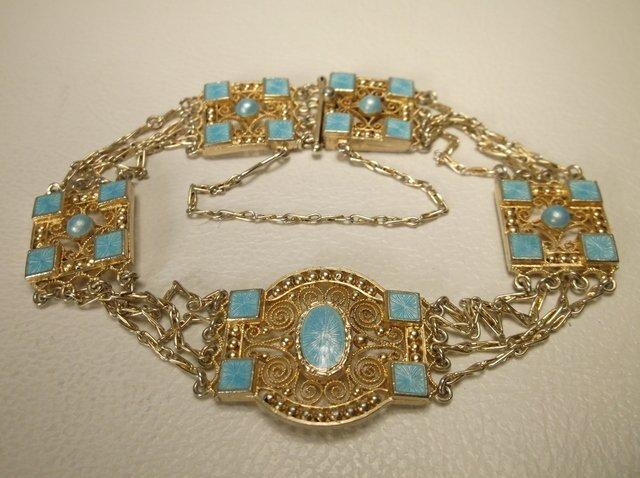 Outstanding Art Deco Sterling Silver Flapper Bracelet