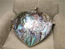 Beautiful Large Sterling Silver Abalone Pendant