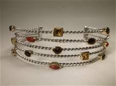 Gorgeous Sterling Silver Gemstone Cuff Bracelet