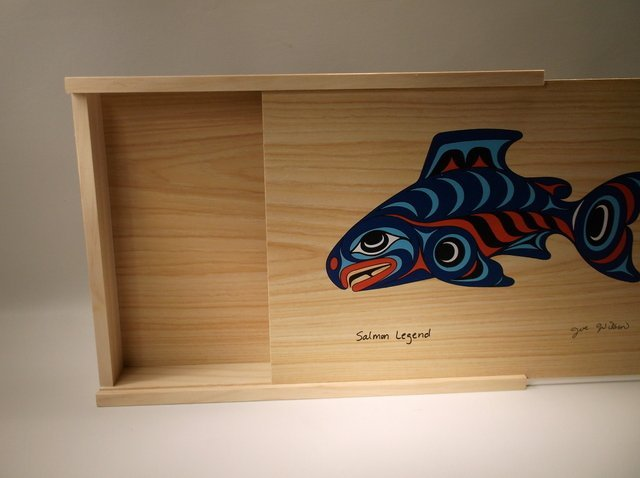 "Beautiful Joe Wilson Salmon Legend Wood Box 10"" - 2"